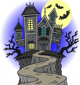 image of haunted house on a hill spooky stories writing course