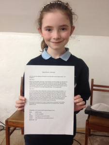 Sadbh Cushen Listowel Literary Compeition for Youth under nines Winner 2016